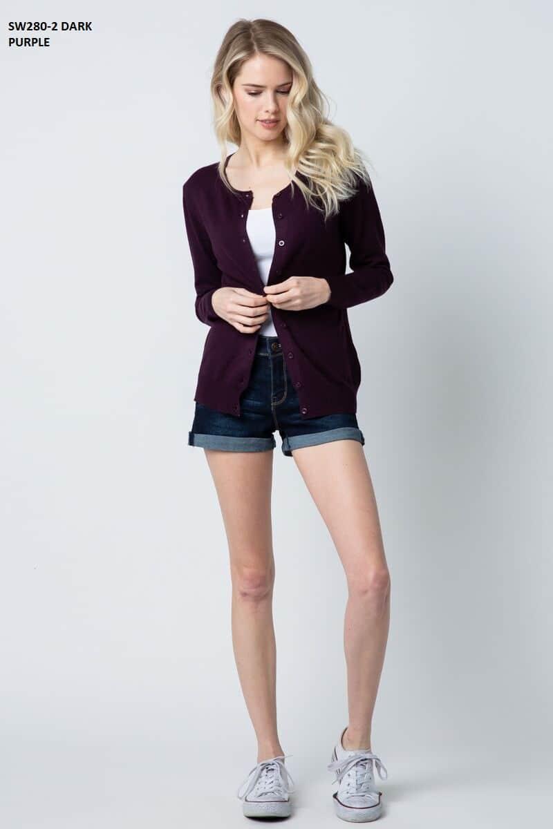 Women's Dark Purple Knit Cardigan Sweater 1