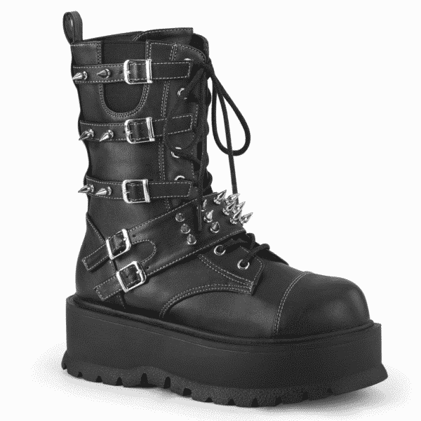 Spiked Buckle Leather Boot Slacker-165
