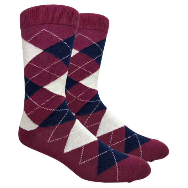 Burgundy Argyle Crew Socks
