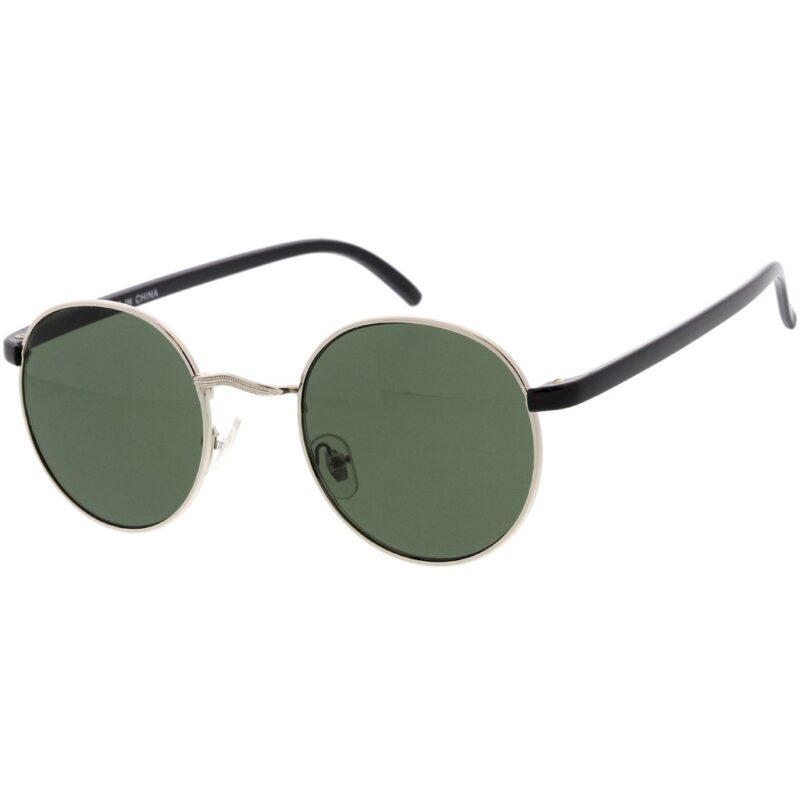 Black Silver Round Sunglasses