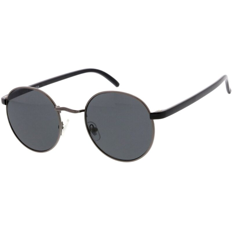 Men's Gray Round Sunglasses