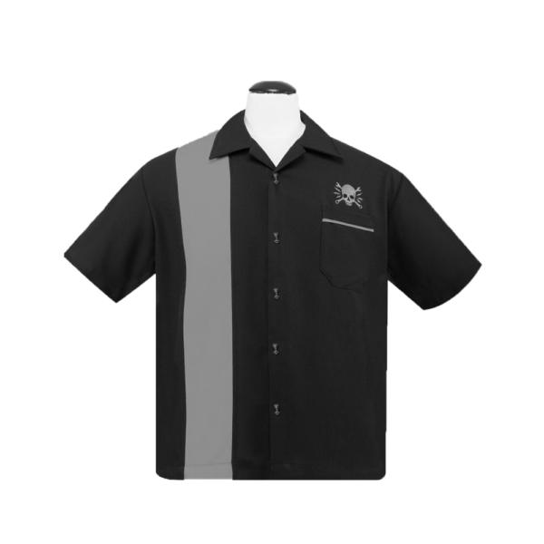 Skull Wrench Black Bowling Shirt